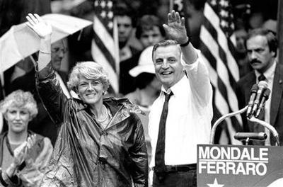 Presidential candidate Walter Mondale names Geraldine Ferraro as first woman candidate for Vice President placeholder image.